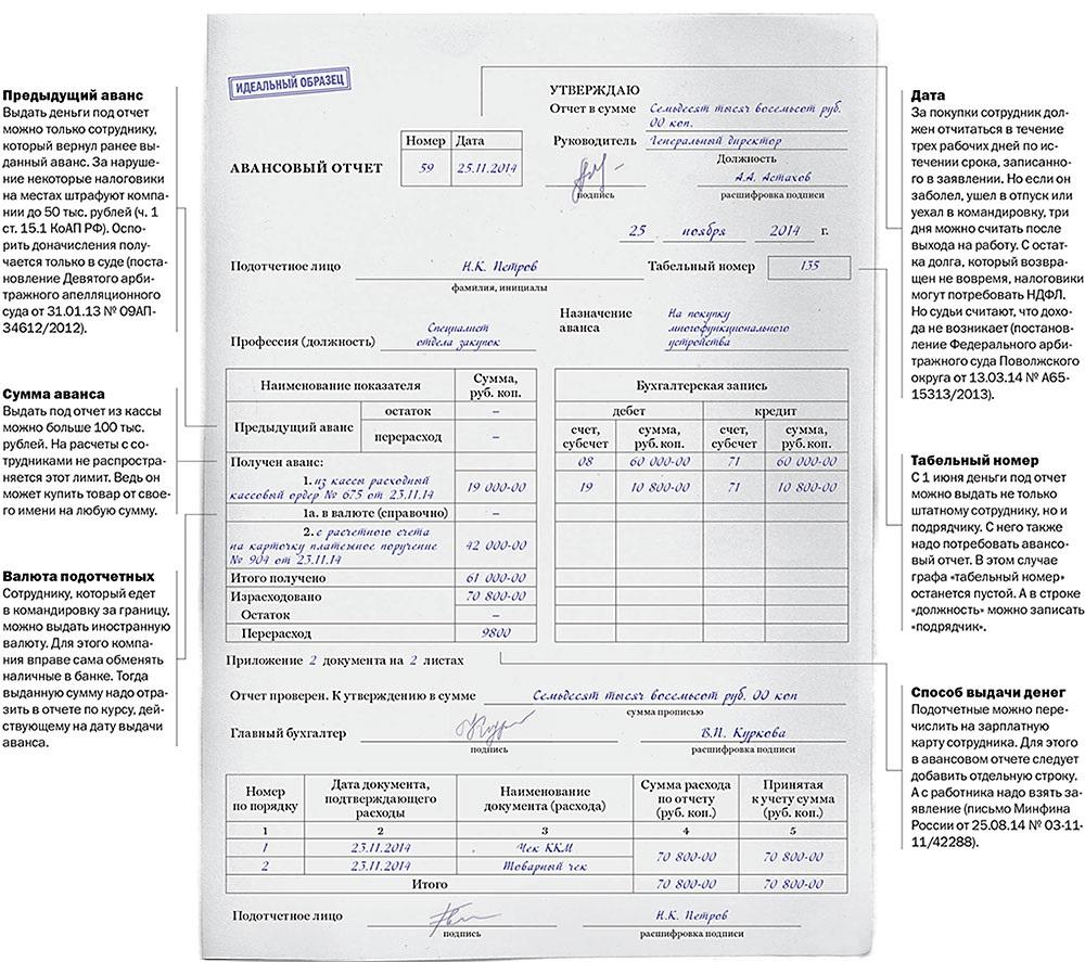 образец заполнения формы 0504049 авансовый отчет