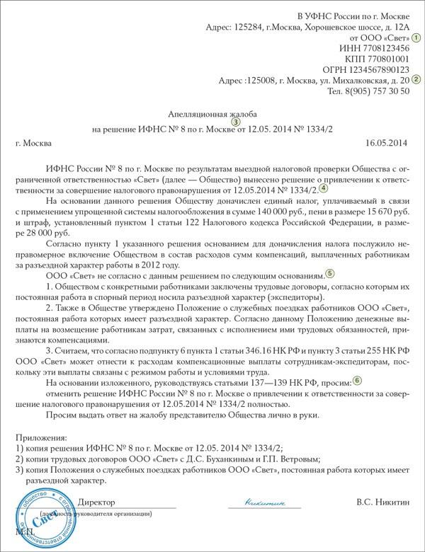 Образец апелляционной жалобы в управление фнс россии
