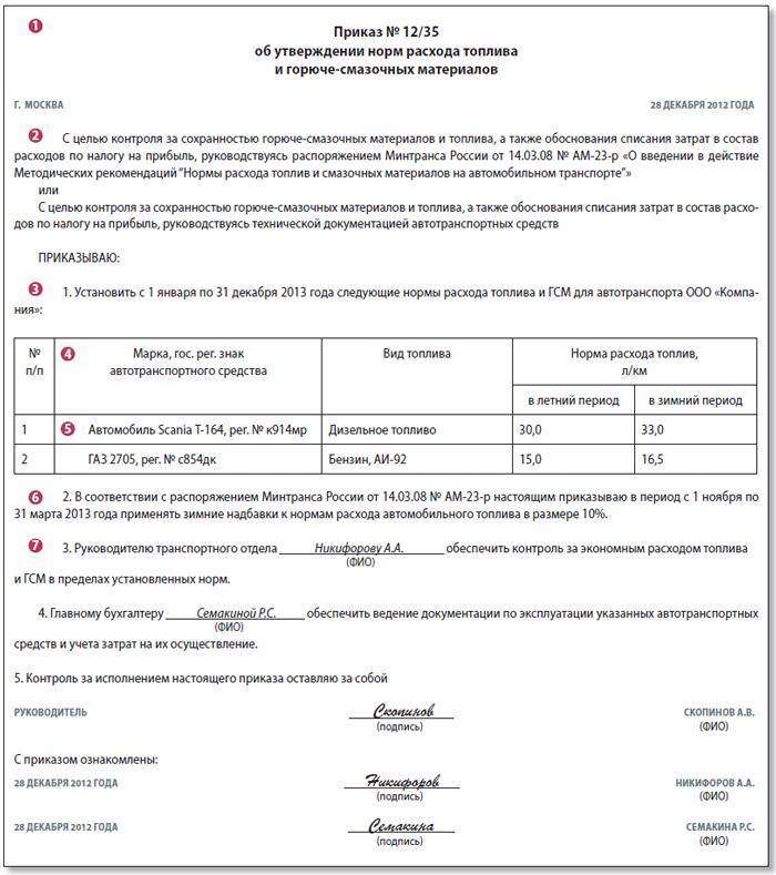 образец приказа об установлении норм расхода топлива - фото 2