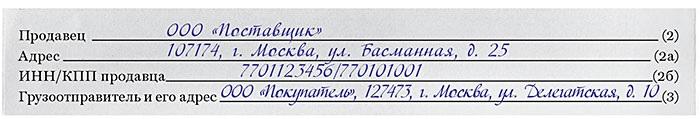 Названия грузоотправителя в счете-фактуре и накладной должны совпадать