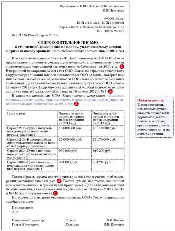 образец письма к уточненной декларации