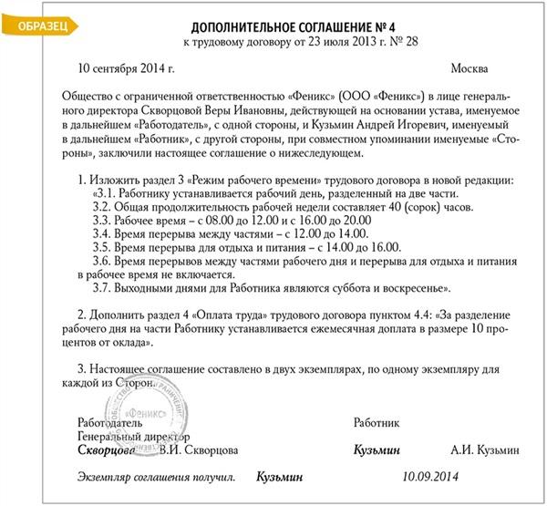 Дополнительное соглашение к трудовому договору: разделение рабочего дня на части