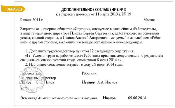 Дополнительное соглашение (уточнение условий труда в трудовом договоре)