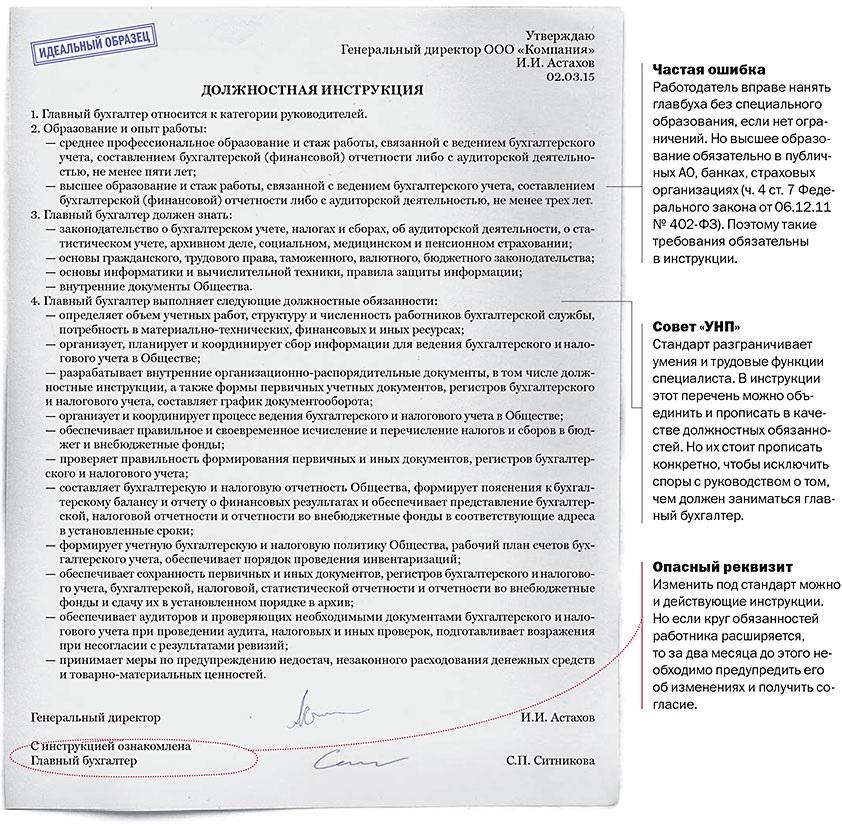 Должностная инструкция главного бухгалтера управляющей компании нулевые декларации ооо на осно